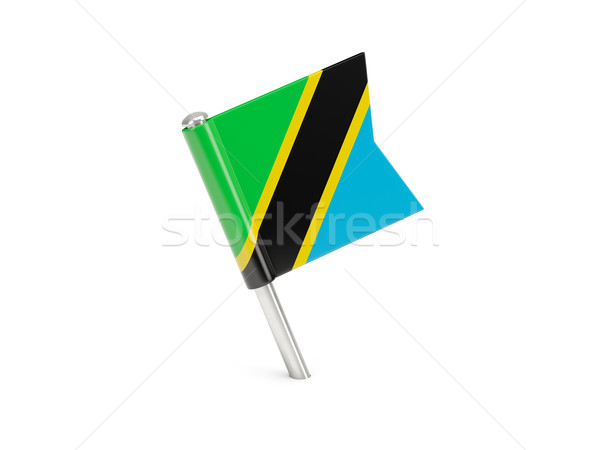 Bandeira pin Tanzânia isolado branco Foto stock © MikhailMishchenko