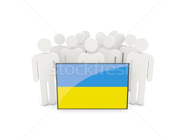 Emberek zászló Ukrajna izolált fehér tömeg Stock fotó © MikhailMishchenko