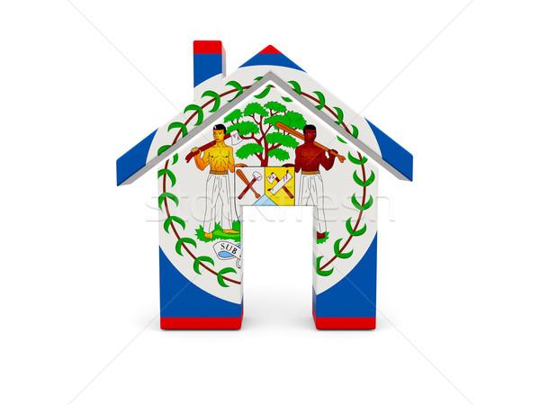 Otthon zászló Belize izolált fehér keresés Stock fotó © MikhailMishchenko