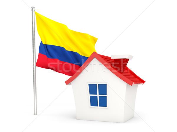 Ház zászló Colombia izolált fehér Stock fotó © MikhailMishchenko