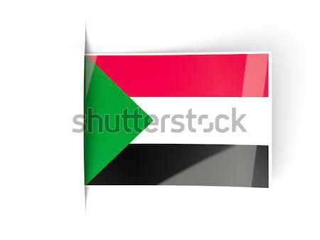 Praça etiqueta bandeira Kuweit isolado branco Foto stock © MikhailMishchenko