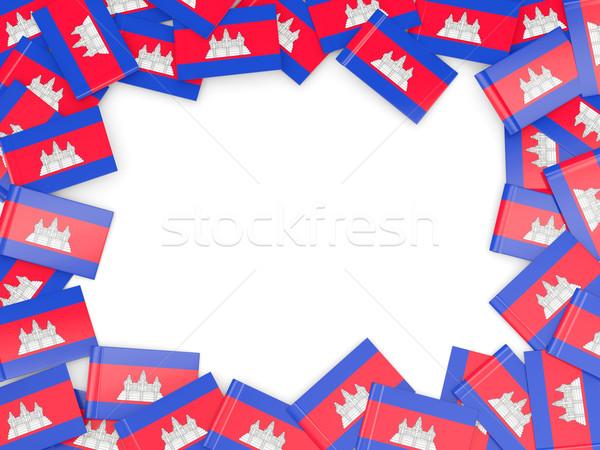 Quadro bandeira Camboja isolado branco Foto stock © MikhailMishchenko
