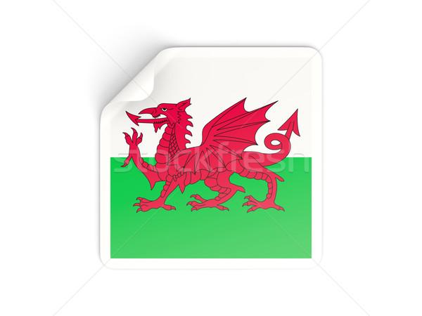 Cuadrados etiqueta bandera gales aislado blanco Foto stock © MikhailMishchenko