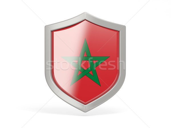 Shield icon with flag of morocco Stock photo © MikhailMishchenko