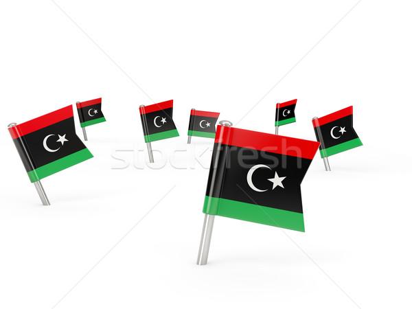 Placu banderą Libia odizolowany biały kraju Zdjęcia stock © MikhailMishchenko