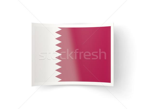 ícone bandeira Catar isolado branco país Foto stock © MikhailMishchenko