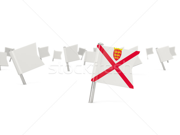 Square pin with flag of jersey Stock photo © MikhailMishchenko