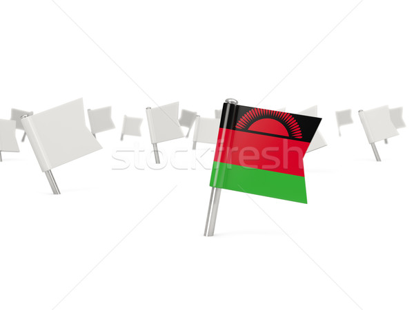 Square pin with flag of malawi Stock photo © MikhailMishchenko