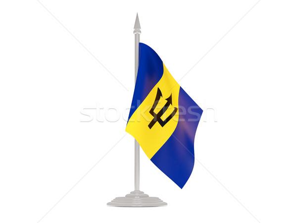 Banderą Barbados maszt 3d odizolowany biały Zdjęcia stock © MikhailMishchenko