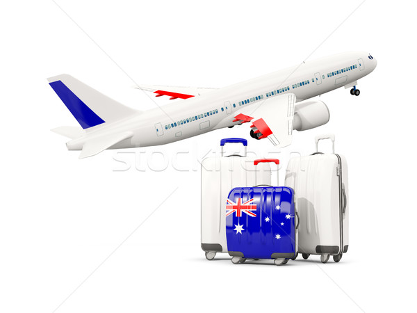Luggage with flag of australia. Three bags with airplane Stock photo © MikhailMishchenko
