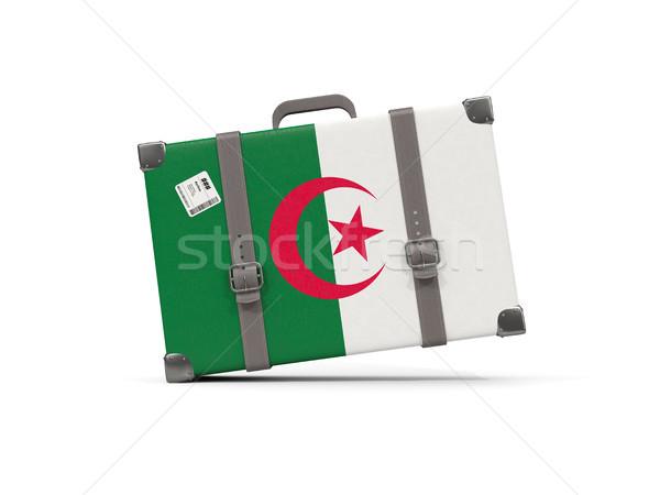 Bagages pavillon Algérie valise isolé blanche Photo stock © MikhailMishchenko