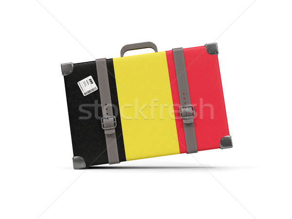 Luggage with flag of belgium. Suitcase isolated on white Stock photo © MikhailMishchenko