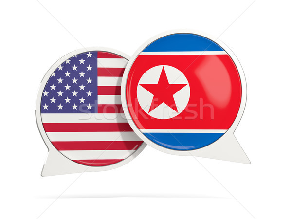 Chat bubbles of USA and North Korea isolated on white Stock photo © MikhailMishchenko