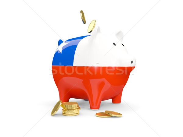 Gordura piggy bank Chile dinheiro isolado branco Foto stock © MikhailMishchenko