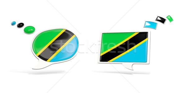 два чате иконки флаг Танзания квадратный Сток-фото © MikhailMishchenko