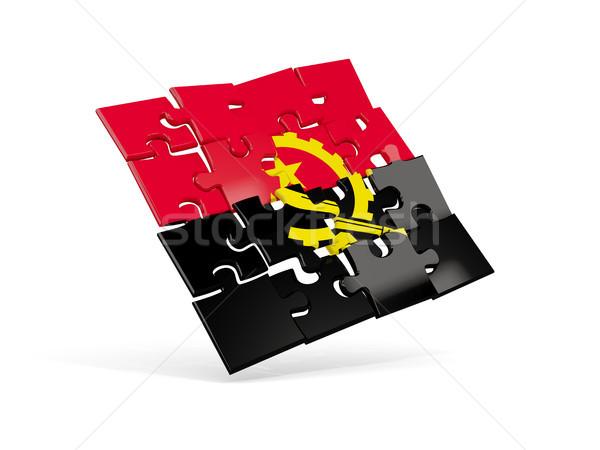 Сток-фото: головоломки · флаг · Ангола · изолированный · белый · 3d · иллюстрации