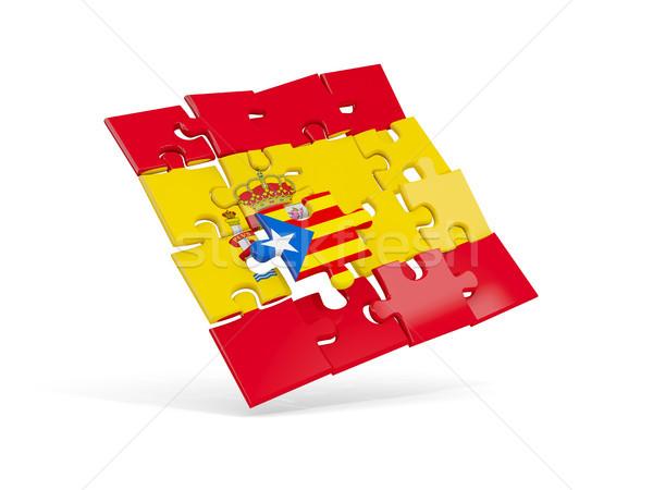 Puzzle flag of Spain and flag of Catalonia Stock photo © MikhailMishchenko