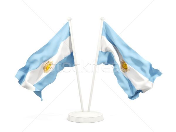 Deux drapeaux Argentine isolé blanche Photo stock © MikhailMishchenko