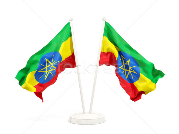 Two waving flags of ethiopia Stock photo © MikhailMishchenko