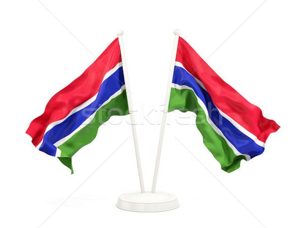 Two waving flags of gambia Stock photo © MikhailMishchenko