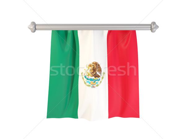 Banderą Meksyk odizolowany biały 3d ilustracji etykiety Zdjęcia stock © MikhailMishchenko