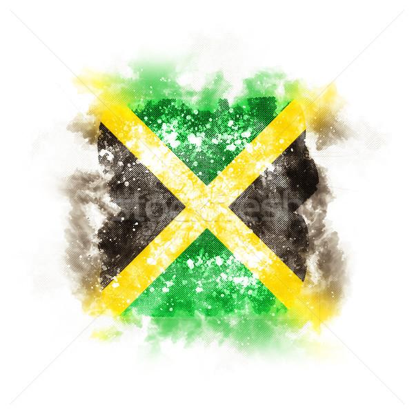 Cuadrados grunge bandera Jamaica 3d retro Foto stock © MikhailMishchenko