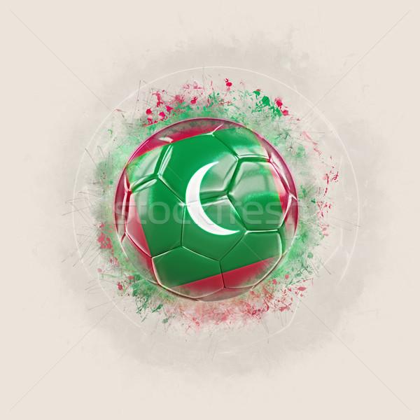Grunge piłka nożna banderą Malediwy 3d ilustracji świat Zdjęcia stock © MikhailMishchenko