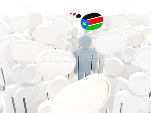 Man vlag zuiden Soedan menigte 3d illustration Stockfoto © MikhailMishchenko