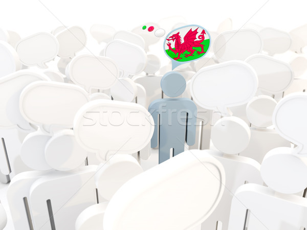 Man with flag of wales in a crowd Stock photo © MikhailMishchenko