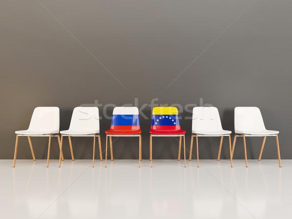 стульев флаг Россия Венесуэла 3d иллюстрации Сток-фото © MikhailMishchenko