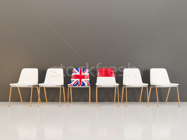 Chairs with flag of United Kingdom and indonesia Stock photo © MikhailMishchenko