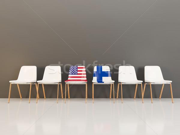 Cadeiras bandeira EUA Finlândia ilustração 3d Foto stock © MikhailMishchenko