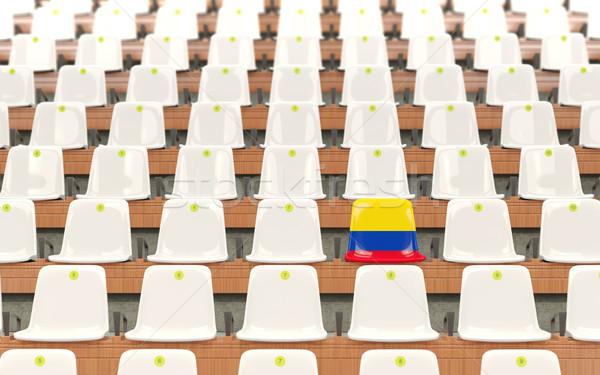 Stadion zitting vlag Colombia rij witte Stockfoto © MikhailMishchenko