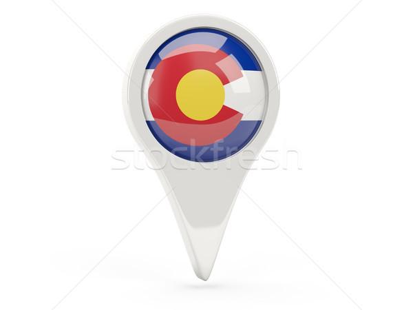 Foto stock: Bandeira · pin · Colorado · Estados · Unidos · local · bandeiras