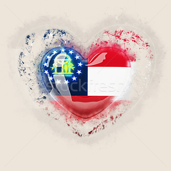 georgia state flag on a grunge heart. United states local flags Stock photo © MikhailMishchenko