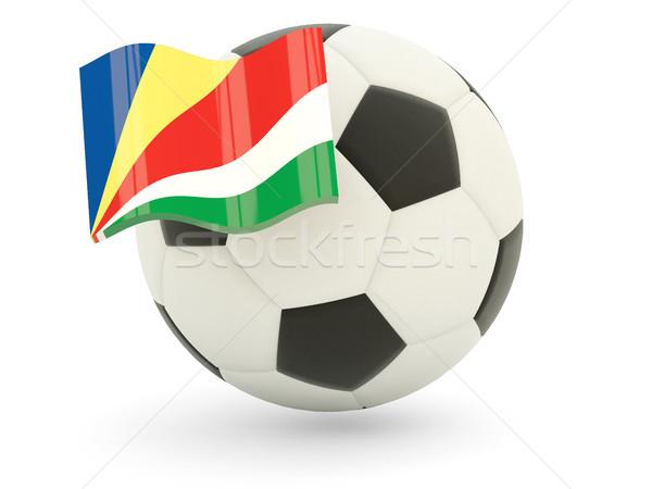 Voetbal vlag Seychellen geïsoleerd witte sport Stockfoto © MikhailMishchenko