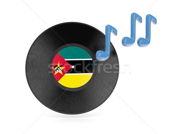 Vinil disco bandeira Moçambique isolado branco Foto stock © MikhailMishchenko