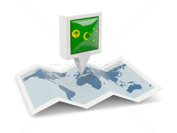 Square pin with flag of cocos islands on the map Stock photo © MikhailMishchenko