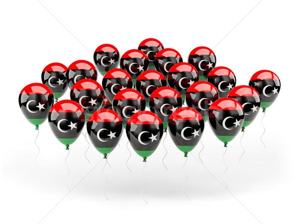 Balony banderą Libia odizolowany biały podróży Zdjęcia stock © MikhailMishchenko