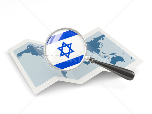 Magnified flag of israel with map Stock photo © MikhailMishchenko