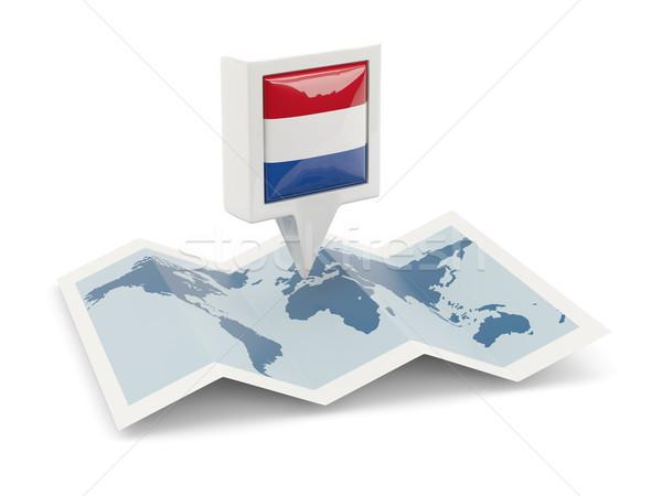 квадратный Pin флаг Нидерланды карта путешествия Сток-фото © MikhailMishchenko