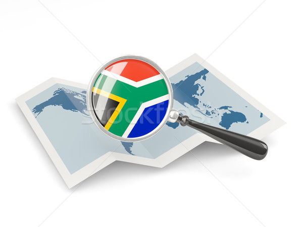 Vlag South Africa kaart witte Stockfoto © MikhailMishchenko