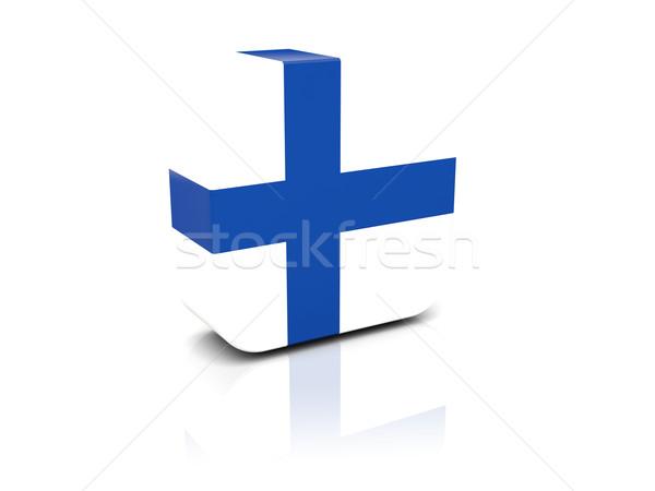 Vierkante icon vlag Finland reflectie witte Stockfoto © MikhailMishchenko