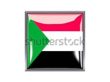 Vierkante icon vlag Equatoriaal-Guinea metaal frame Stockfoto © MikhailMishchenko