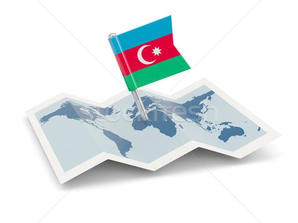 Mapa bandera Azerbaiyán aislado blanco Foto stock © MikhailMishchenko