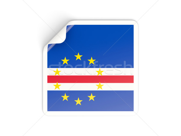 Stock photo: Square sticker with flag of cape verde
