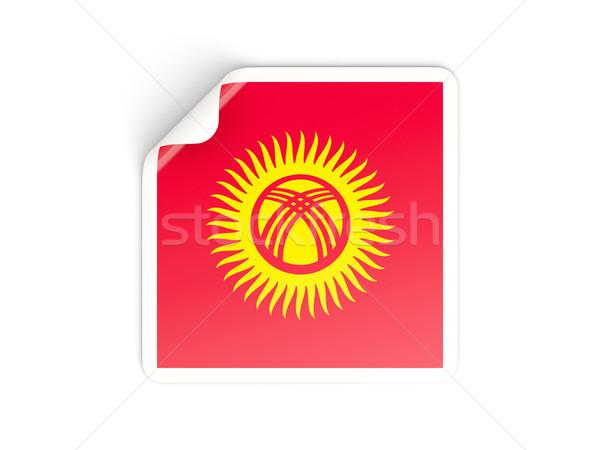 Kare etiket bayrak Kırgızistan yalıtılmış beyaz Stok fotoğraf © MikhailMishchenko