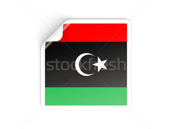 Placu naklejki banderą Libia odizolowany biały Zdjęcia stock © MikhailMishchenko