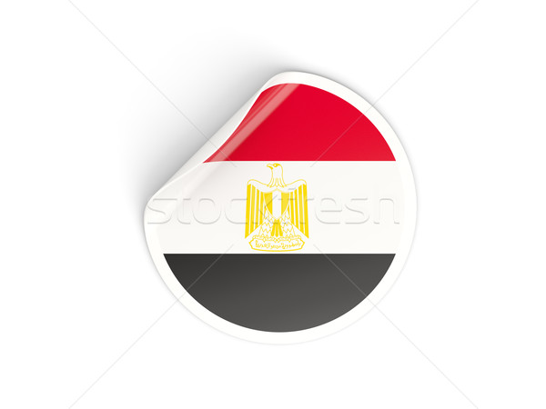 Round sticker with flag of egypt Stock photo © MikhailMishchenko