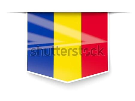 Praça etiqueta bandeira Romênia isolado branco Foto stock © MikhailMishchenko